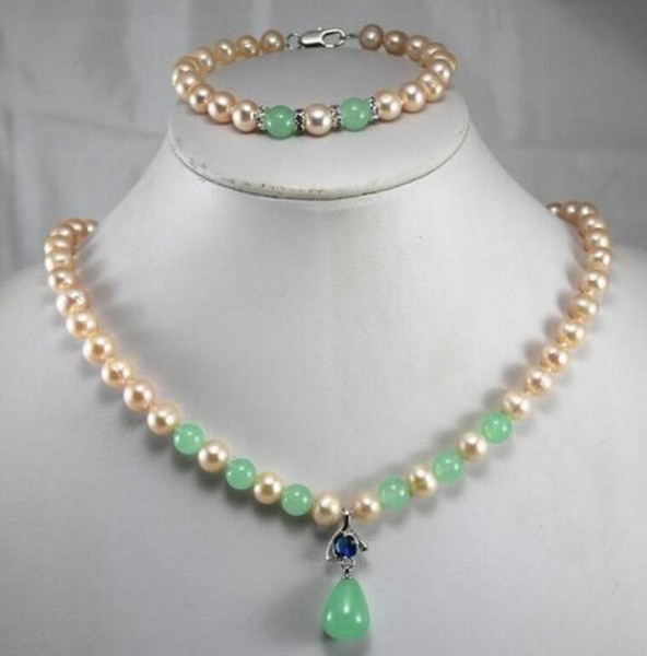 anniversary! Wholesale Women's yellow pearl mixed green Natural Stone pendant Necklace bracelet jewelry set