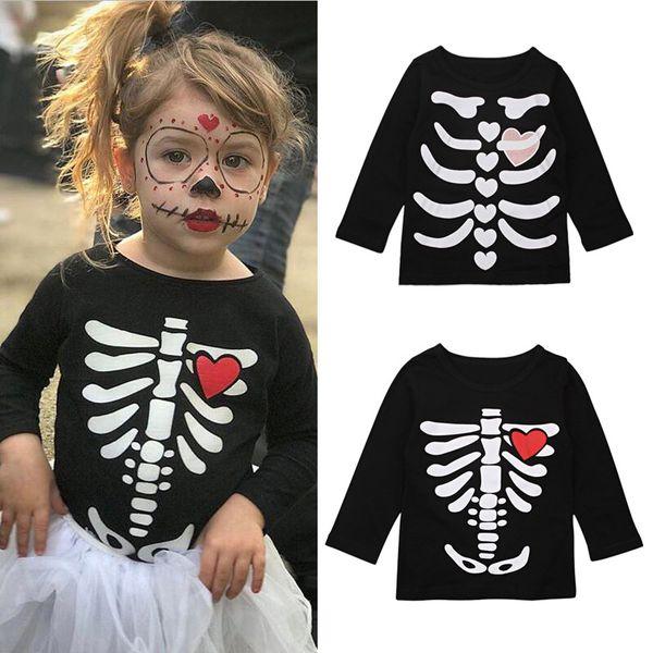 2018 Bambini Halloween Magliette Autunno Neonate Ossa Amore stampato Top Boutique Teschio Tees Abbigliamento casual Camicie per bambini
