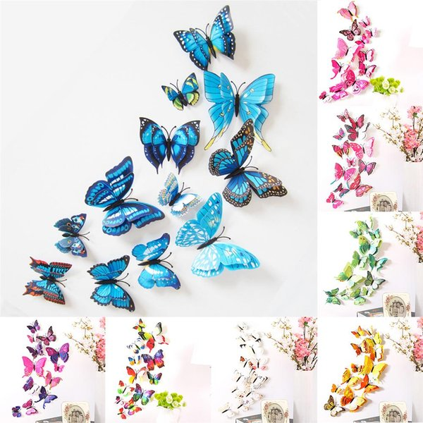 12pcs/set Wall Stickers Simulation 3D Decorative Butterfly Double Wings Wall Magnets Sticker Bedroom Living Room Home Decroation