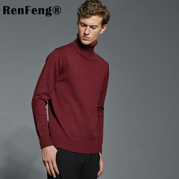 Winter Knitted Turtleneck Men Sweater Pull Homme Navy Blue Red Dark Grey Black Christmas Sweater Men Korean Man Fashion Clothing