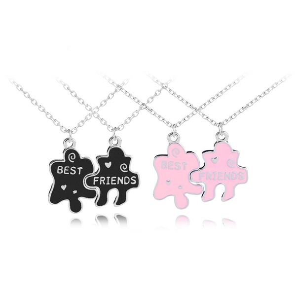 2pcs/set New Jigsaw Puzzle Best Friends Necklace For BFF Two Chains Pendant Necklace Engraved Letters pendant necklace Gift