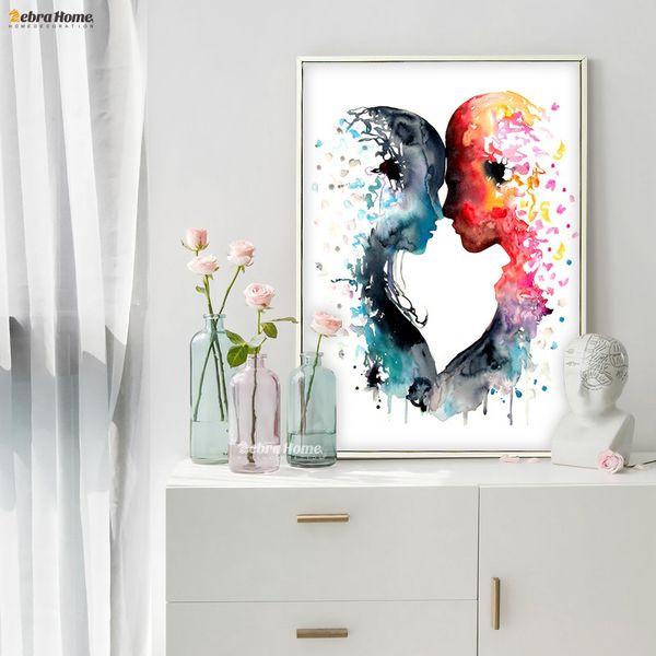 rints images Aquarelle originale Amour toile Peinture murale d'art affiche Prints Photos Salon Décoration intérieure Cadeaux de mariage d'amour ... Cou