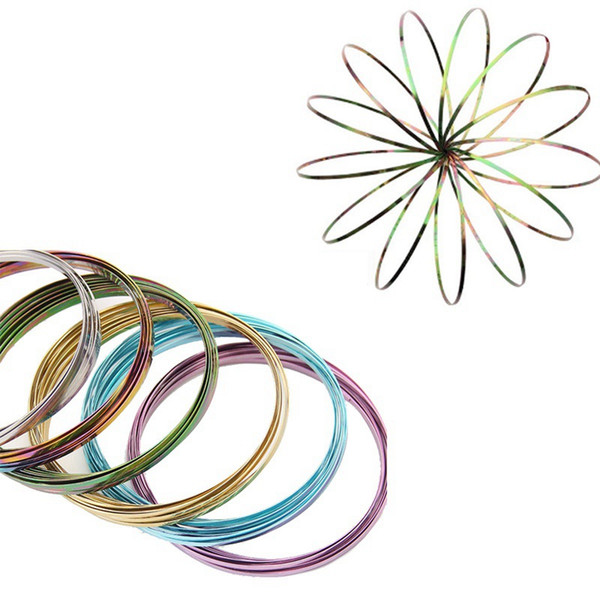 100pcs Rainbow Toroflux Flow Toy Mix Colors Amazing Wristband Flow Ring Metal Hand Arm Spinner Funny Outdoor Game Intelligent Toys