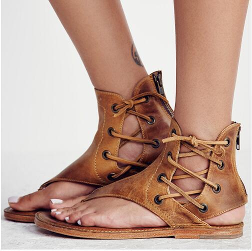 hot sale online in stock new collection New Women Sandals Vintage Summer Women Shoes Gladiator Sandals Flip Flops  For Women Beach Shoes Leather Flat Sandalias Mujer Jesus Sandals Black ...