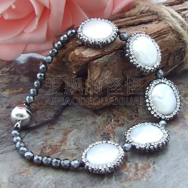 "B062612 8"" White Coin Pearl Pyrite Bracelet"
