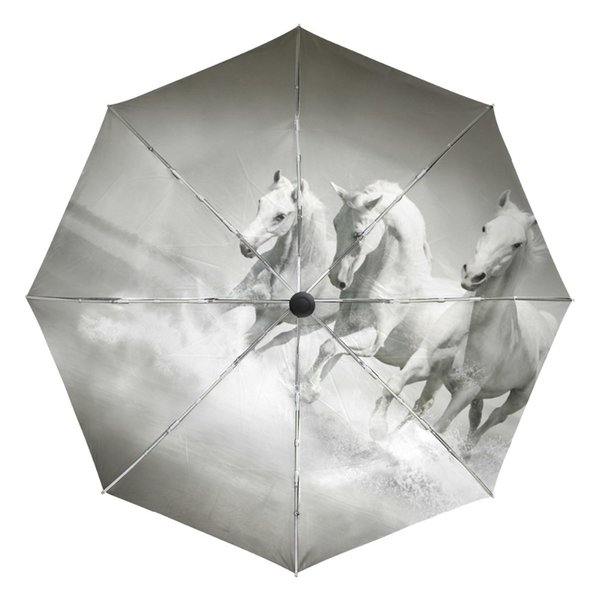 White Horse Running Portable Folding Rain and Sun Beach Umbrellas Hat Unique Parasol Automatic Umbrella with Outer Black Coating