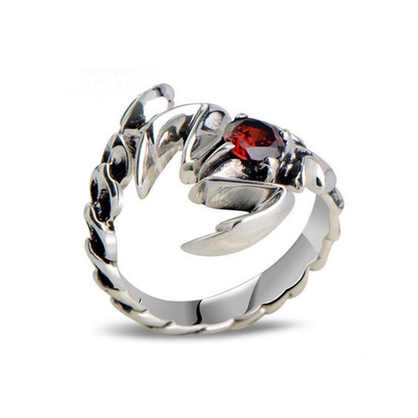 Men Women Thai Vintage Sterling Silver Ring Size Adjustable Scorpion Animal Style Jewelry