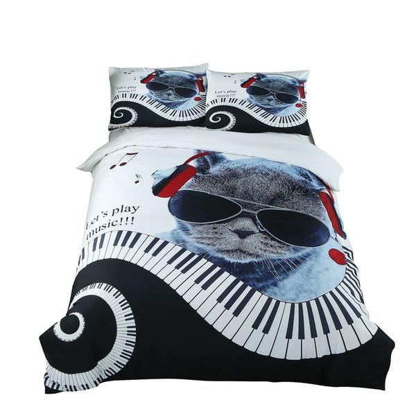 2018 New Creative 3D Cat Pattern Duvet Cover 2 pillowcase Bedding Set Adult Kids Child Soft Bed Linen US UK Twin Queen King Size