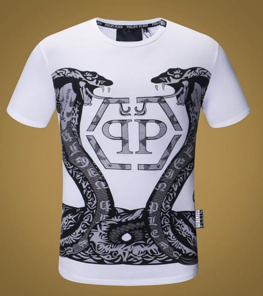 2018 Outono T Shirt Dos Homens de Moda de Manga Curta t-shirt Roupas Casuais Carta Do Crânio impressão Hip Hop Masculino Tops Tee # 17017