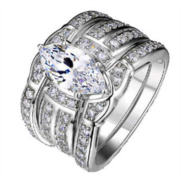 Größe 5-10 Retro Schmuck 14kt Weißgold gefüllt Topas Birne geschnitten simuliert Diamant Frauen Ehering Set (3in 1) Geschenk Größe 5-12 #