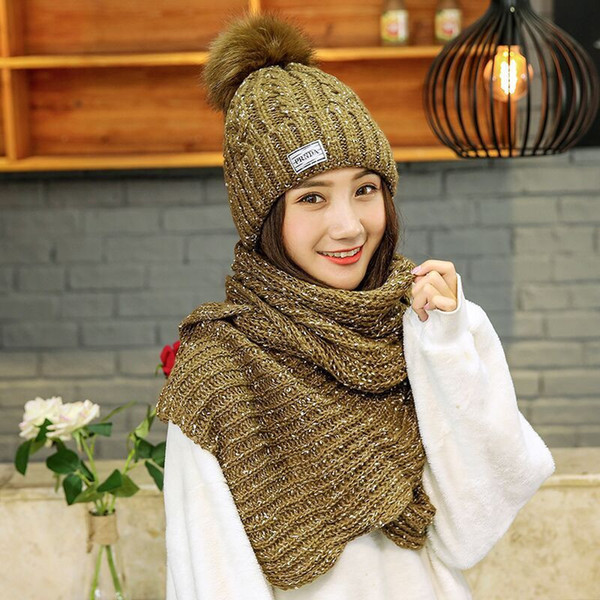 Winter explosion models knitted hat Korean version of the wool hat scarf two-piece fashion warm knit hat