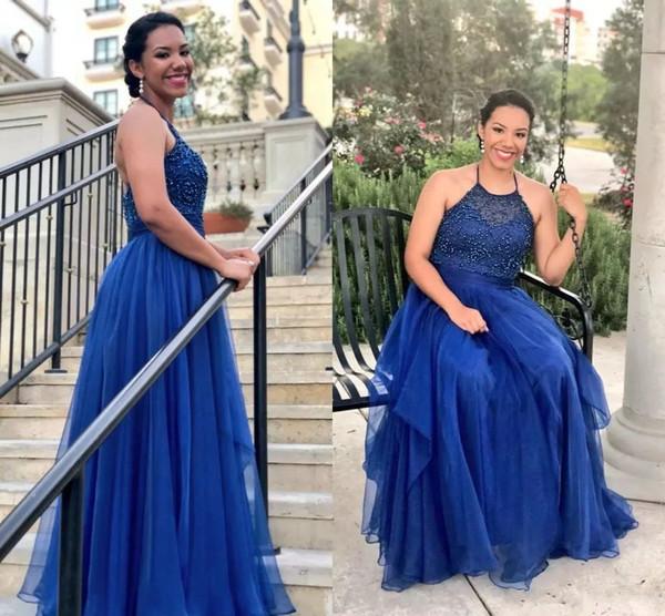 Plus Size Royal Blue Prom Dresses 2018 New Halter Neckline Beaded Bodice A  Line Floor Length Chiffon Formal Dresses Evening Plus Size Promdresses ...