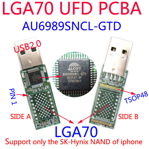 DIY UFD Kits, AU6989SNCL-GTD USB FLASH DRIVE PCBA, LGA70 PADS ,ONLY FOR Sk hynix NAND FLASH of iphone 6S/6P HDD. USB2.0, ENAND