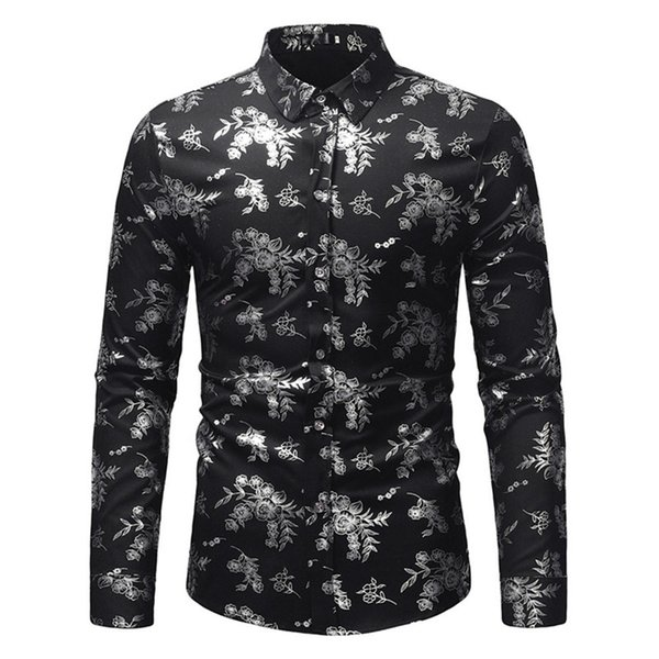 Chinese Style Vintage Floral Shirt 2018 Hot Sale Flower Print Blouse Mature Man Dinner Party Wear Male Office Casual Blusa Slim