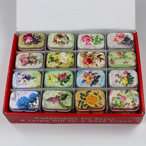 32pcs/lot Exquisite Vintage Flower Printing Mini Tin Box Storage Box for Jewelry Wedding Favor Candy Coins Pill Tea Case