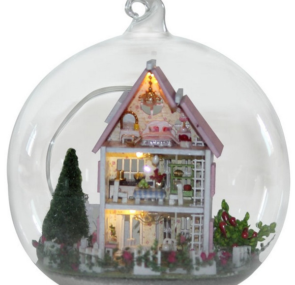 3pcs Luxury Villas miniature dollhouse glass DIY mini home glass ball hand doll house With LED lights Wholesale