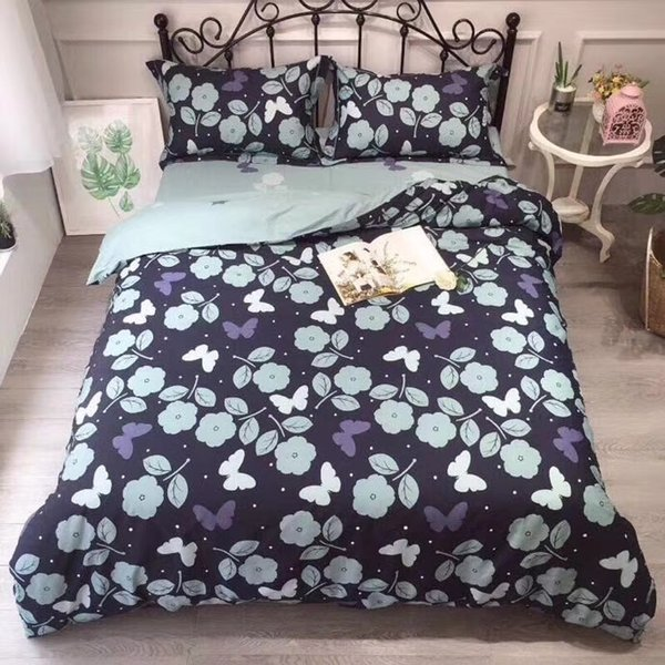 Cotton flower series bed sheet flat sheet bedding set four-piece cartoon four-piece combed cotton cotton fabric color as shown