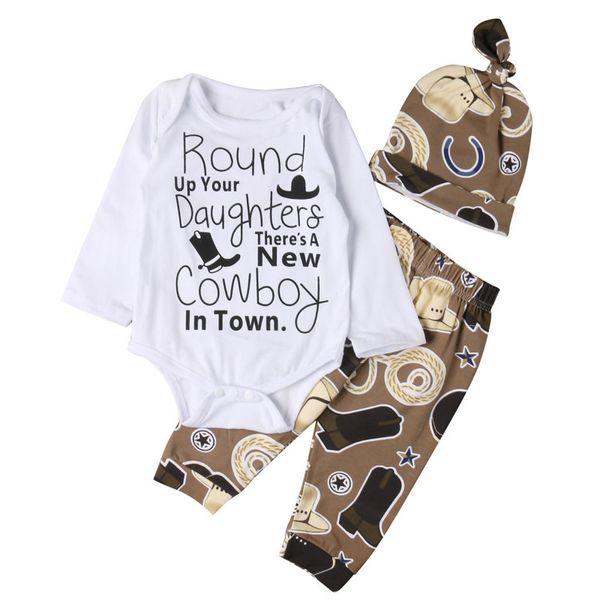 Newborn Baby Boys Brown Cowboy Hats Shoes pattern Romper Pants Hat 3Pcs Set Outfits Letter Print Kids Boy Clothes 0-18M