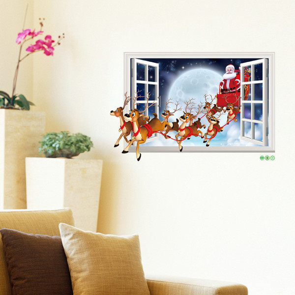 Merry Christmas Santa Claus Elk Sled 3D Fake Window Gift Bag Wall Stickers for Kids Rooms Home Decor New Year Wall Decals Art PVC Poster