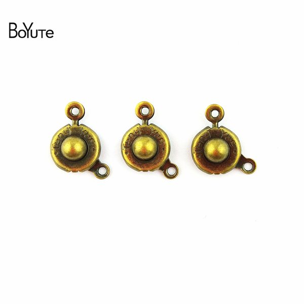BoYuTe (100 Pieces/Lot) 13.5*9.5MM Antique Bronze Plated Alloy Press Button Connector Charms for Jewelry Making Diy Bracelets Necklace