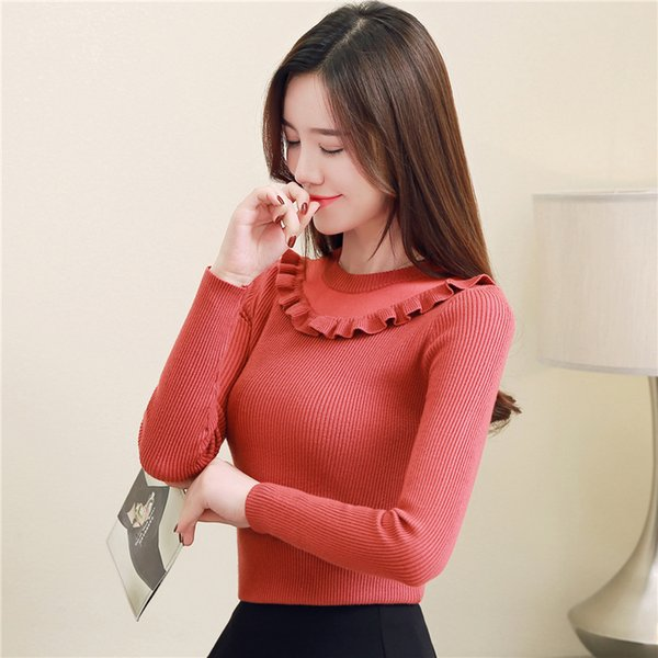 New Sweet Womens Knits Slim Underwear Ruffle Crew Neck Long Sleeve Tops Autumn Winter Womens Sweaters 7 Colors