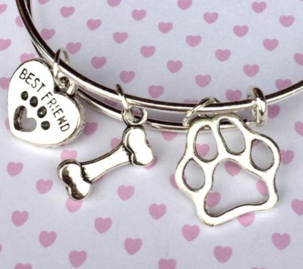 Vintage Silver Cat Dog Paw Prints Heart Bone Charms Expandable Wire Bracelet Wedding Cuff Bangles For Women Jewelry Gift NEW Accessories NE
