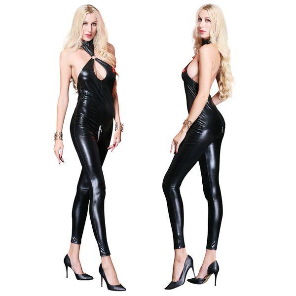 Women's Sexy Black Latex Patent Leather Bodysuit Catsuit Costumes Zipper Cross Crotch For Bar Clubwear Stripper Halloween Party Fancy Dress