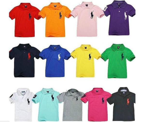 13 colores muchachos de verano camisa polo niños de manga corta transpirables de verano camisetas de marca para niños 2-14 niño niña camisa de color sólido