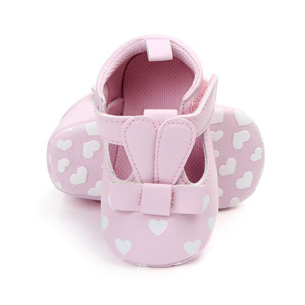Bebê recém-nascido Meninas Sapatos Infantis Princesa Estilo Amor Coração Impressão Respirável Não-slip Fundo Macio Cack Sapatos de Bebê