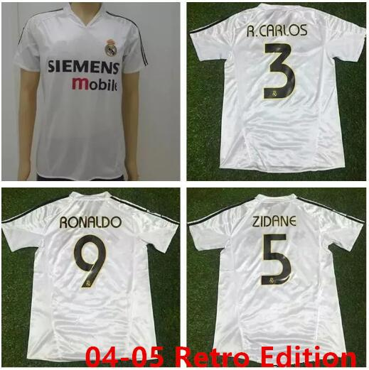 2004 2005 real madrid jer ey retro vintage cla ic 04 05 zidane beckham ronaldo carlo raul cami eta futbol maillot de foot occer hirt