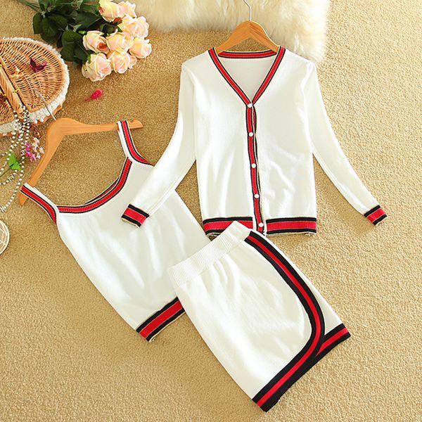 2018 New Summer Women Skirt Suit Casual Slim Knitted Female Mini Skirts Suits Ladies 3 Piece Set Women Shirt Top + Vest + Skirt