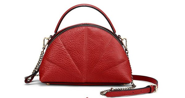 2018 genuine leather women's shell bag brief fan shaped cowhide leather lady's shoulder bag fashion chain