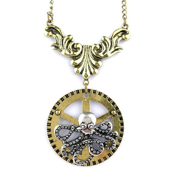 Free shipping Yiwu factory original single trade pendant Steampunk series gear Octopus necklace wholesale spot pattern