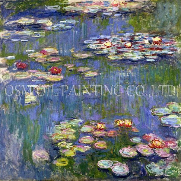 Free Shipping Claude Monet Water Lilies Oil Painting On Canvas Reproduction Impression Lily Flower Oil Painting For Decoration