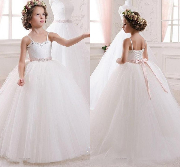 New Spaghetti Strap A Line Flower Girl Dresses Crystals Lace Up Back Tulle Long Girl Pageant Party Dress Butterfly Flower Girl Dress Cheap Flower Girl