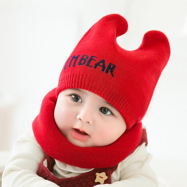 купить оптом детские вязаные шапки шарф набор зимние ветрозащитные дети мальчики