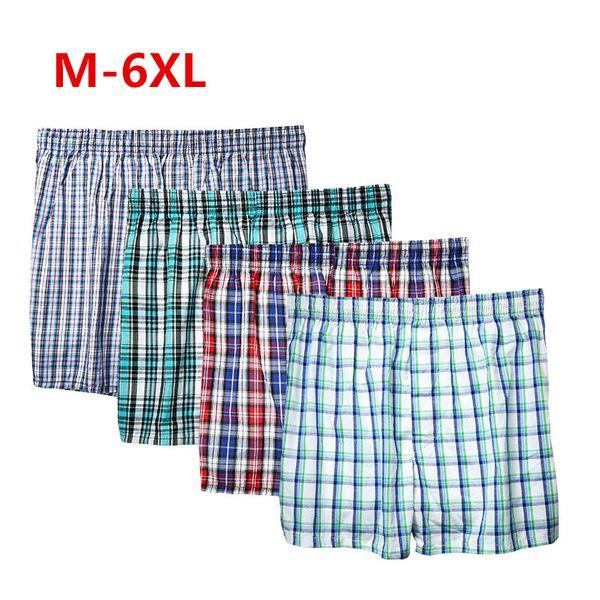Shanboer 4PCS Mens Underwear Boxers Loose Shorts Men'S Panties Cotton The Large Plaid Arrow Pants Plus Size