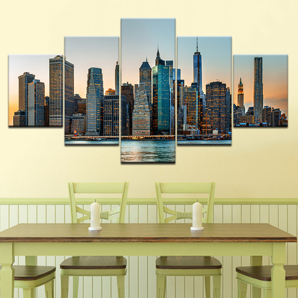 5 Panel No Frame Canvas Painting Modern City Building Wall Art Picture Home Decor Room Print Poster Popular Gift