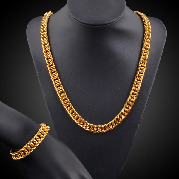 Mens Thick Tight Link 18k vergoldet gefüllt Miami Cuban Link Kette und Armband Set 1cm breit (24