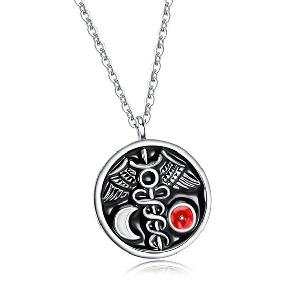 Fashion Jewelry New design Big Size Circle Moon Round Pendants Necklaces For Men Stainless Steel Neckalce for men