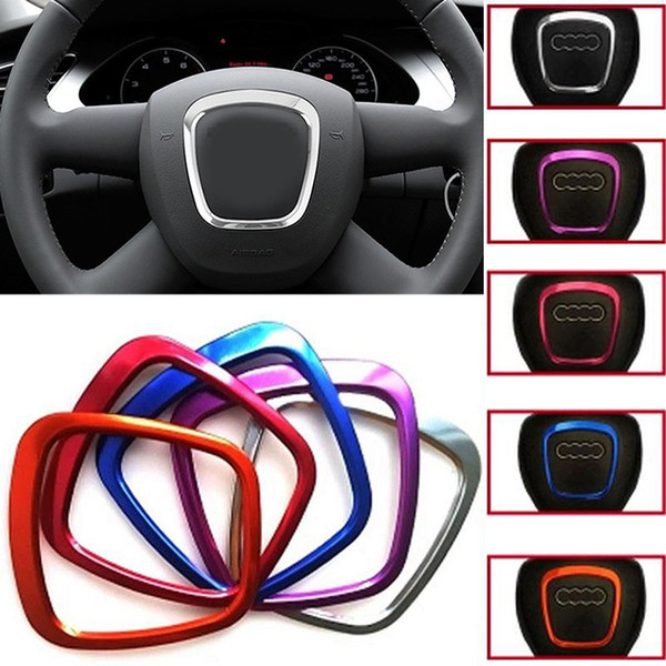 For Audi Q5 accessories Car decorate Steering Wheel Logo Emblems 3D Sticker Ring For Audi A3 A4 A5 Q3 Q5 Q7 interior accessories