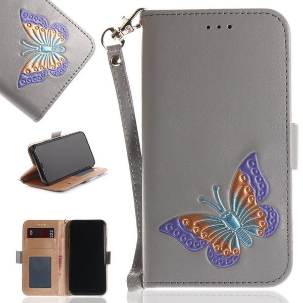 Hand painted butterfly cell phone Wallet Case Card slot Colorful butterfly embossed magnetic buttons Phone Cover Cases For iPhone Samsung