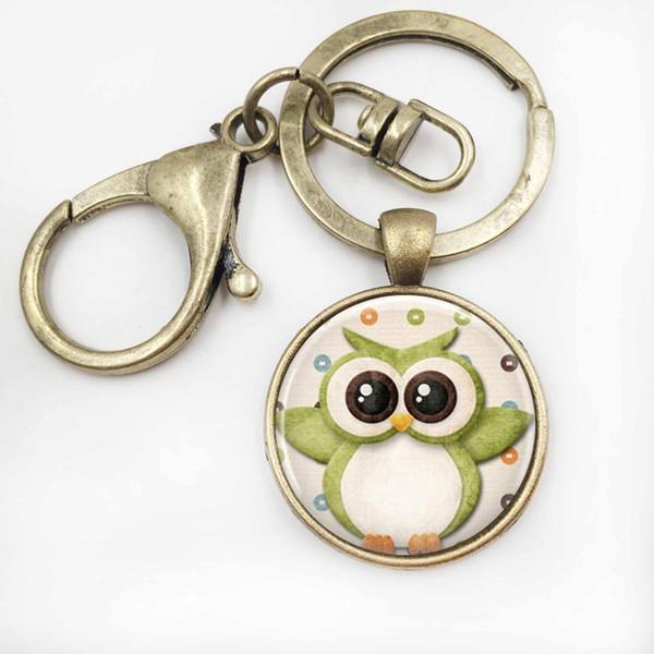 Owl Jewelry Owl key rings Owl Key Chains Glass Gems Bag Pendant Christmas Gift for Women for Men