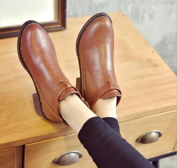 2019 winter Low Heel OL Pointed Toe Boots Fashion Women Elasticated Patent Leather Slip-On Boots feminino