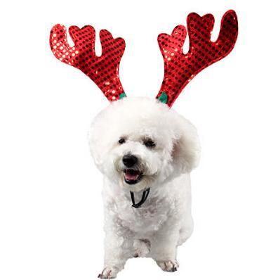 Pet Christmas Hair Ornaments Dog Cat Christmas Elk Head Hoop Reindeer Hair Hoop For Cat Dog Xmas Decoration