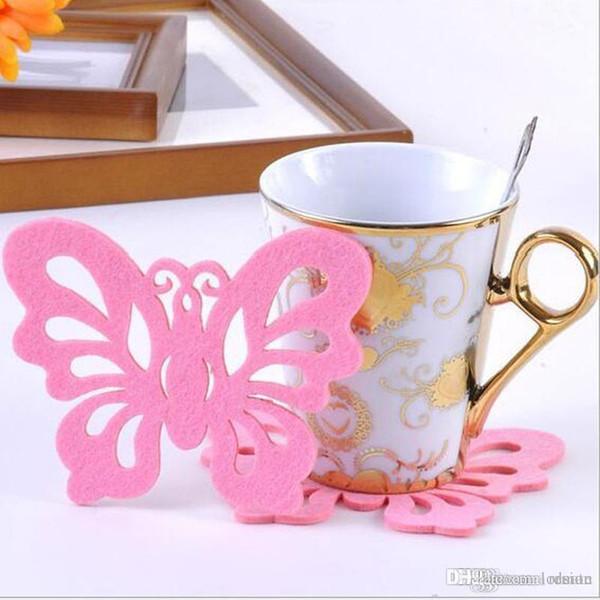 Wholesale- 2 pcs/Lot Crochet Doilies lkea Design Innovative Items Felt Insulation Bowls Mat Coasters Placemats Butterfly Shape Cup#S383