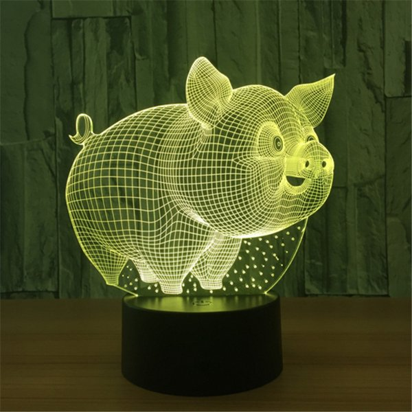 New Coming Design DC 5V USB Powered AA Battery Pig Pattern 3D Illusion Lamp LED Night Light