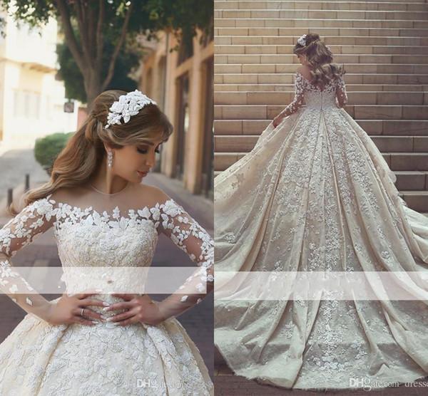 Sheer Langarm Brautkleider Jewel Neck Zipper Zurück Lace Appliques Tüll Ballkleid Brautkleider Garten Brautkleider