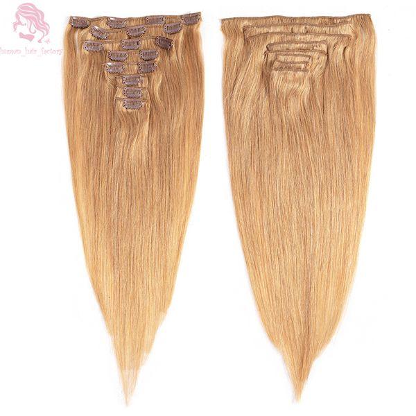 Grampo de cabeça completa em linha reta em extensões de cabelo humano 14 polegada-24 polegada Brasileira Remy Cabelo Clipe Em 8 Pçs / set