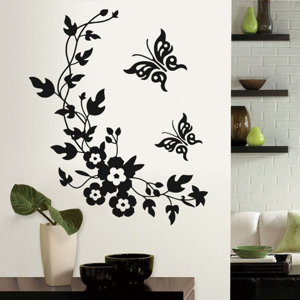 poster Removable Vinyl 3d Sticker Mural Decal Art - Flowers and Vine butterfly Wall Poster toilet living Room decals